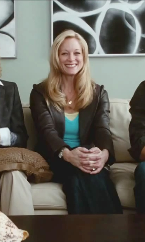 Teri Polo with Diamond Sphere Rolo Chain With 2 Round Flat Hammered Pendant Necklace in Little Fockers