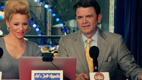 John Michael Higgins with Brooks Brothers Textured Spaced Medallion Tie in Pitch Perfect 2