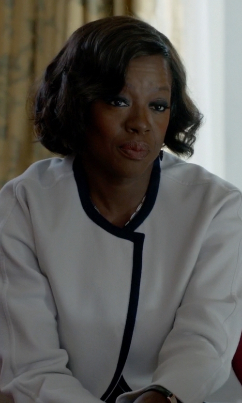Viola Davis with St. John Contrast-Trim Zip-Front Jacket in How To Get Away With Murder