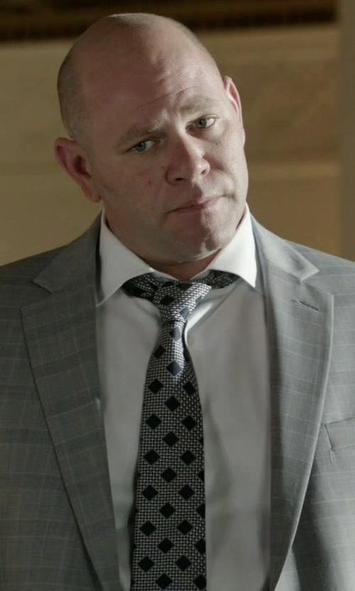 Domenick Lombardozzi with Hugo Boss Silk Diamond Pattern Tie in Rosewood