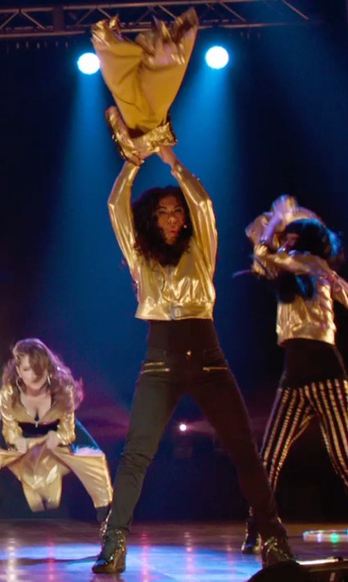 Chrissie Fit with Betabrand Gold Reversible Disco Hoodie in Pitch Perfect 2