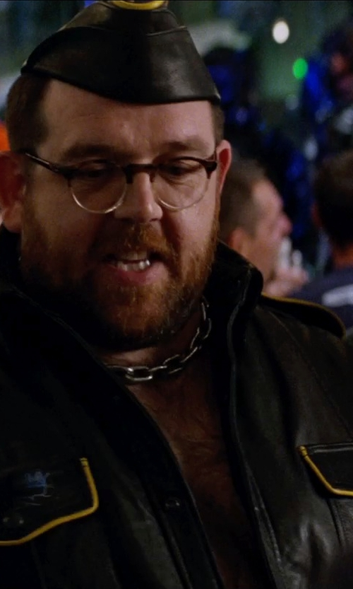 Nick Frost  with Urban Outfitters Schott Perfecto Leather Moto Jacket in Unfinished Business