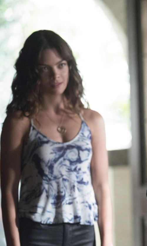 Scarlett Byrne with Chelsea Flower Emmanuelle Marble-Print Silk-Crepe Camisole Top in The Vampire Diaries