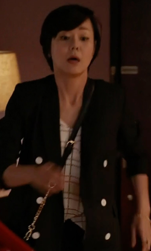 Yunjin Kim with Smythe College Striped-Cuff Blazer in Mistresses