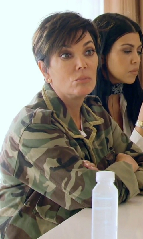 Kris Jenner with ATM	 Camo Field Drawstring-Waist Jacket in Keeping Up With The Kardashians