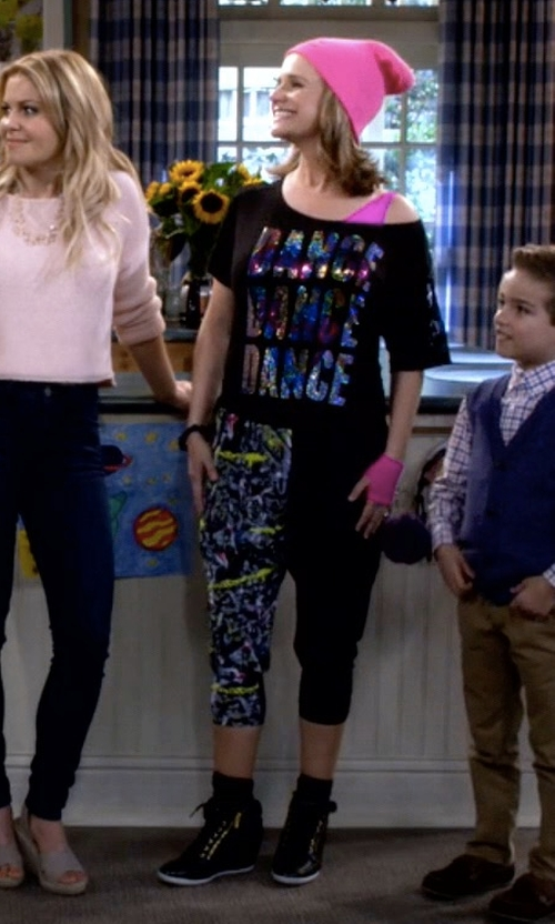 Andrea Barber with Thalia Sodi Azar High-Top Wedge Sneakers in Fuller House