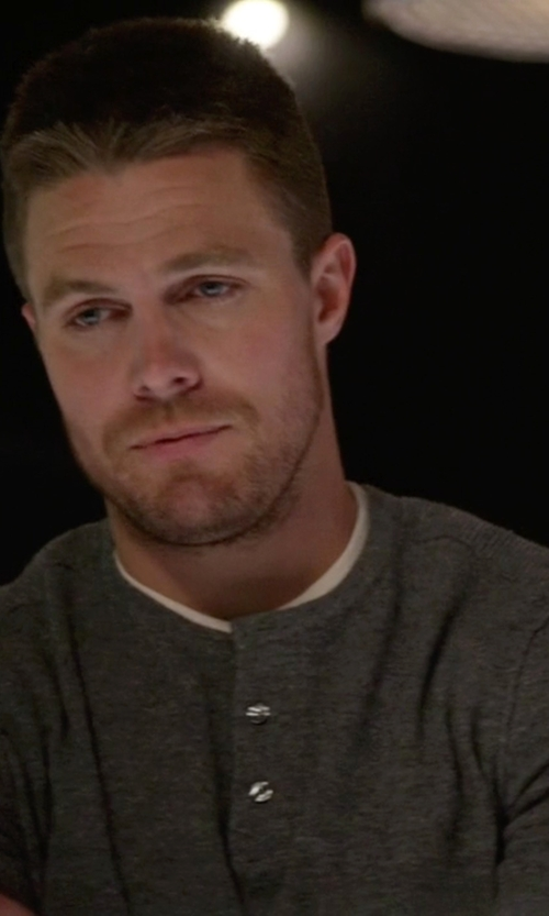 Stephen Amell with Goodlife Long Sleeve Henley Shirt in Arrow