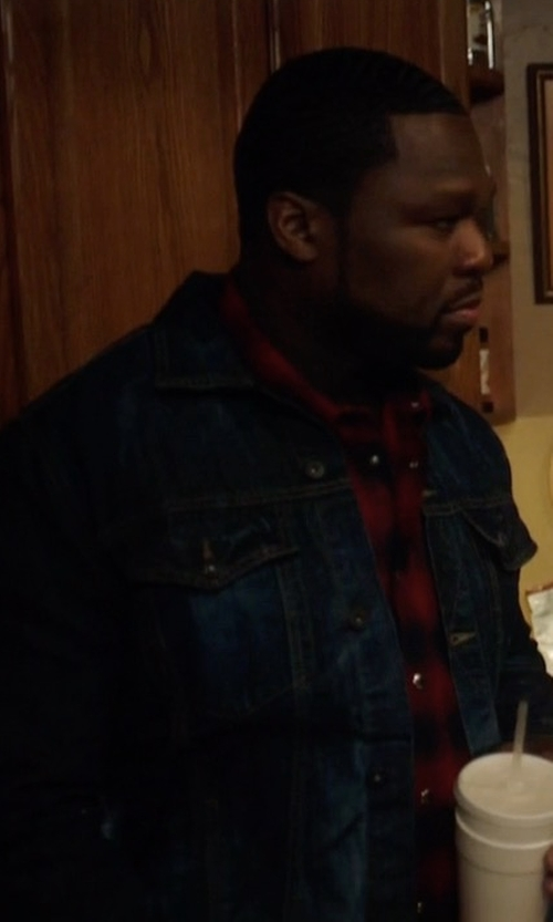 50 Cent with Acne Studios Denim Pass Jacket in Power