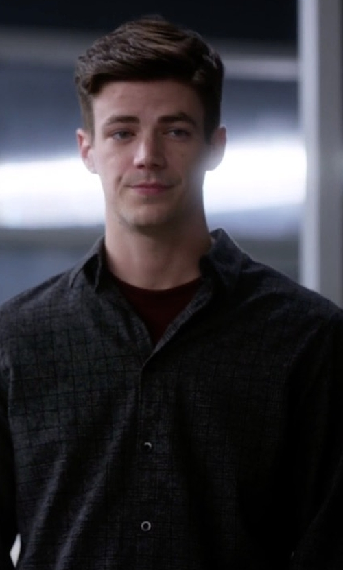 Grant Gustin with Zanerobe Flannel Seven Foot Shirt in The Flash