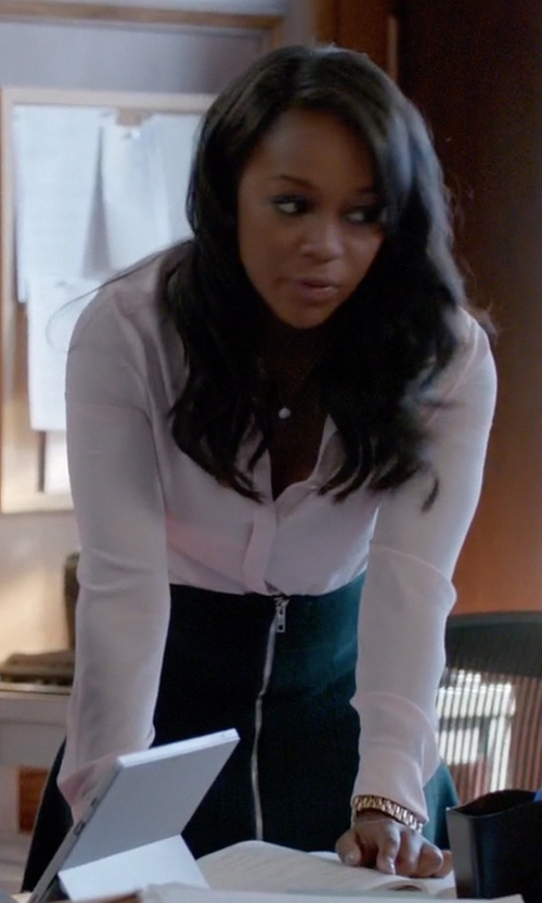 Aja Naomi King with River Island Navy RI Studio Wool A-Line Skirt in How To Get Away With Murder