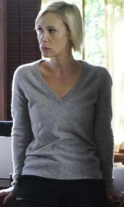 Liza Weil with Vince Knit V-Neck Sweater in How To Get Away With Murder
