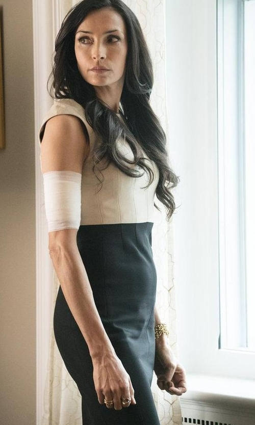 Famke Janssen with Paule Ka Cap Sleeve Colorblock Sheath Dress With Banded Trim in The Blacklist
