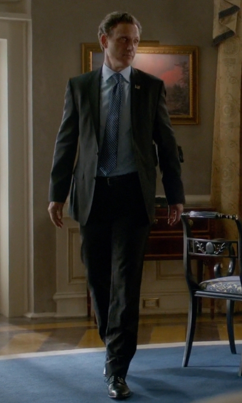 Tony Goldwyn with Brooks Brothers Madison Fit Black Shadow Stripe 1818 Suit in Scandal