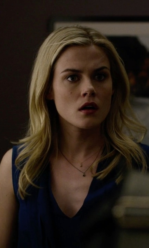 Rachael Taylor with Pleione Layered V-Neck Sleeveless Blouse in Jessica Jones