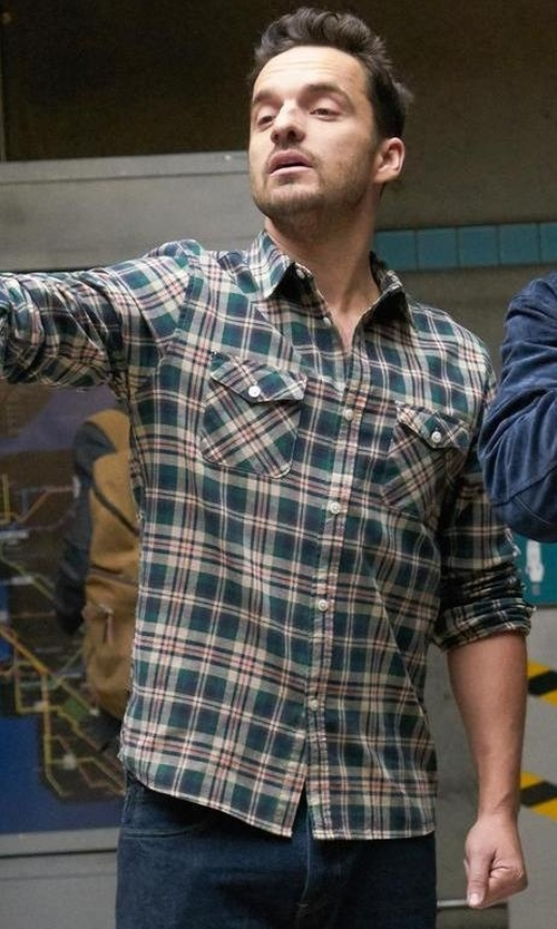 Jake Johnson with G.H. Bass & Co.  Plaid Flannel Long-Sleeve Shirt in New Girl