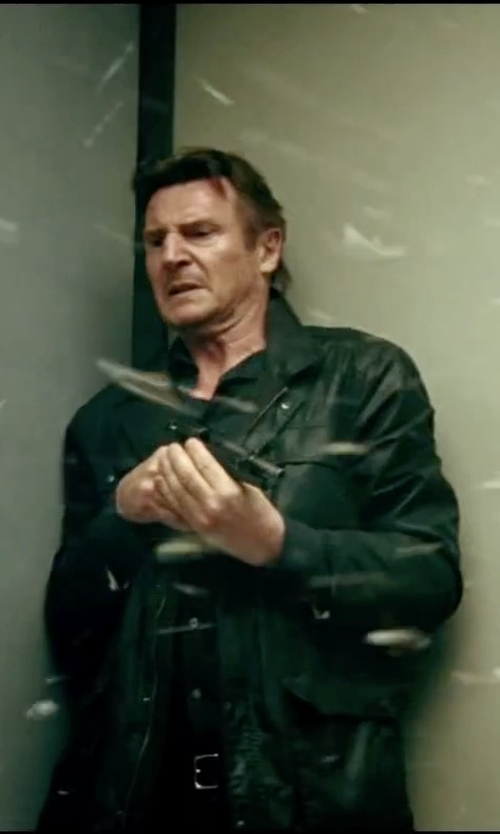 Liam Neeson with Armani Collezioni Solid Cotton Dress Shirt in Taken 3