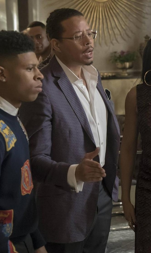 Terrence Howard  with Boss Jayson Houndstooth Two-Button Wool Sport Coat in Empire