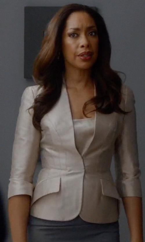 Gina Torres with Alexander McQueen Tailored Silk Mikado Jacket in Suits