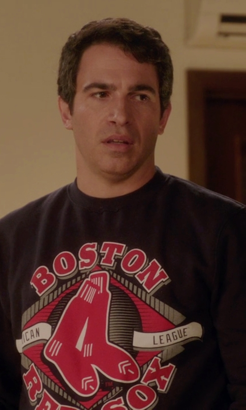 Chris Messina with FansEdge Stitches Boston Red Sox Warning Track Crewneck Sweatshirt in The Mindy Project
