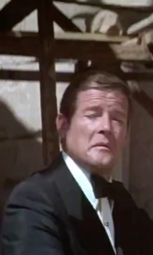 Roger Moore with Saks Fifth Avenue Collection Pre-Tied Silk Bow Tie in The Spy Who Loved Me