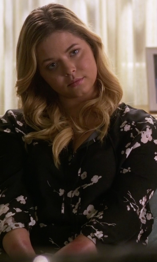 Sasha Pieterse with Equipment Signature Floral-Print Silk Shirt in Pretty Little Liars