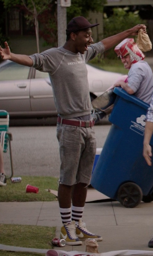 Jerrod Carmichael with Lacoste Textile Croc Belt in Neighbors
