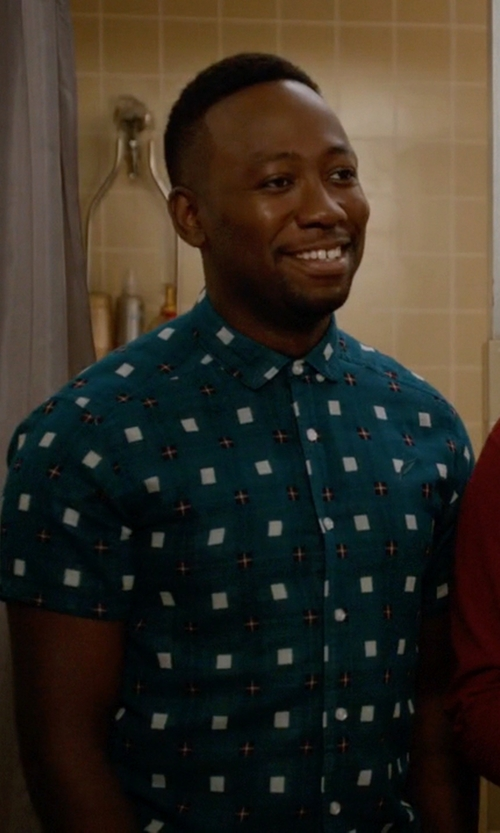 Lamorne Morris with Descendant Of Thieves Floral Print Woven Shirt in New Girl