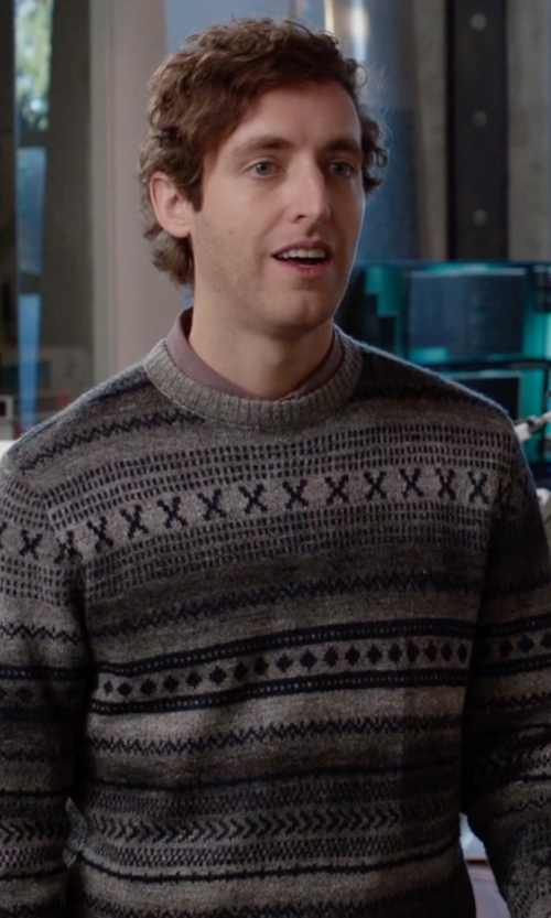 Thomas Middleditch with Wesc Knitted Sweater in Silicon Valley