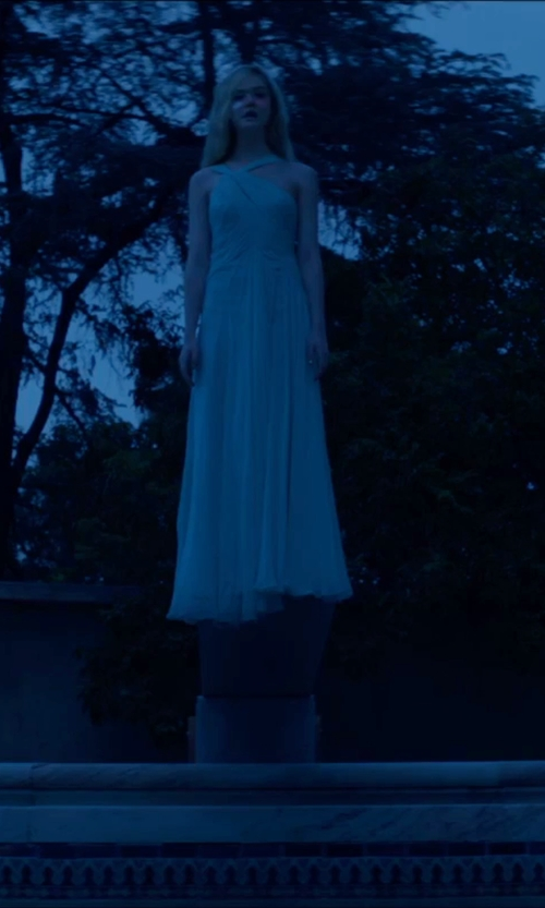 Elle Fanning with Donna Morgan Sleeveless Beaded Halter Gown in The Neon Demon