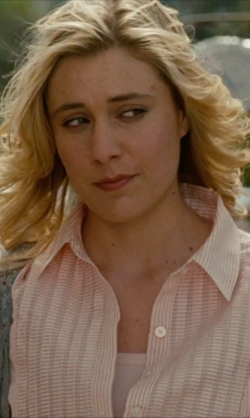 Greta Gerwig with Polo Ralph Lauren Custom-Fit Striped Shirt in No Strings Attached