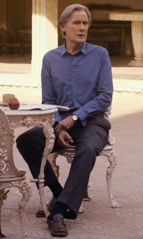 Bill Nighy with Burberry London Flat-Front Wool/Mohair Trousers in The Second Best Exotic Marigold Hotel