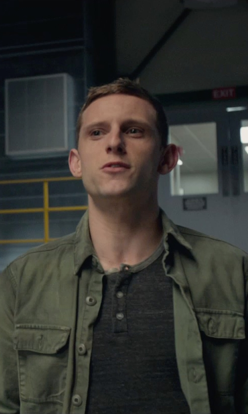 Jamie Bell with Black Brown 1826 Lightweight Military Jacket in Fantastic Four