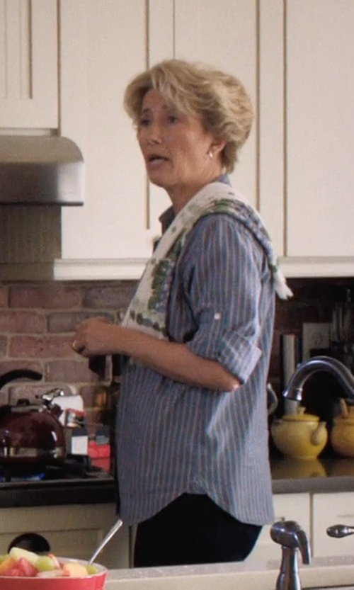Emma Thompson with Joie Women's Cartel Striped Cotton Button Down Shirt in A Walk in the Woods