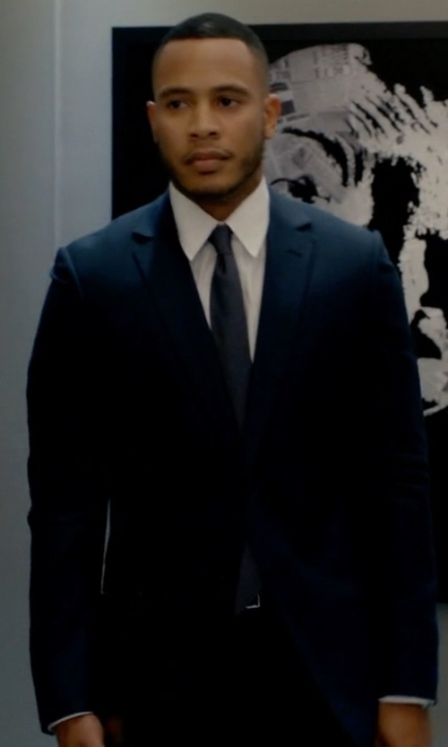 Trai Byers with Prada Navy Wool Blend Two Button Suit in Empire