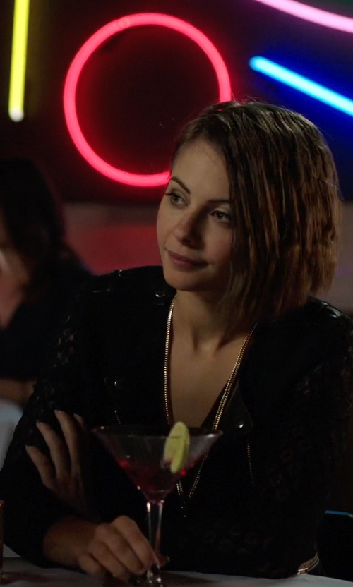 Willa Holland with The Kooples Lace & Leather Jacket in Arrow