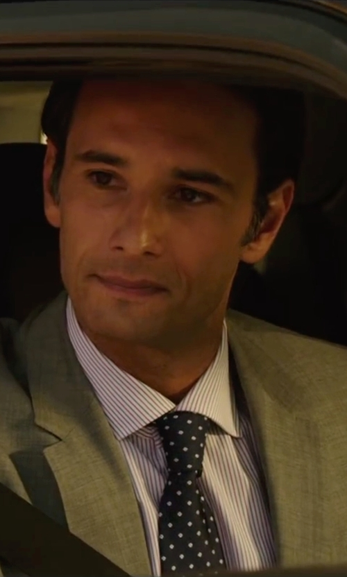 Rodrigo Santoro with Brooks Brothers Non-Iron Regular Fit Bengal Stripe Dress Shirt in The 33