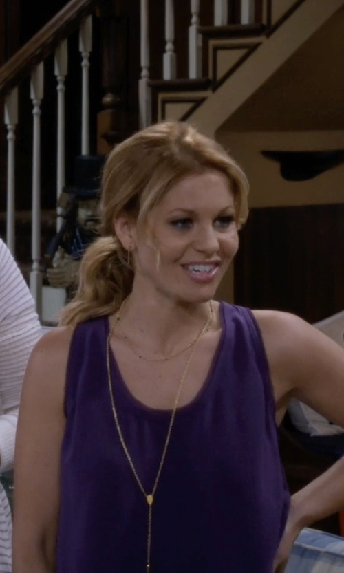 Candace Cameron Bure with Three Dots Lightweight Viscose Long Tank Top in Fuller House