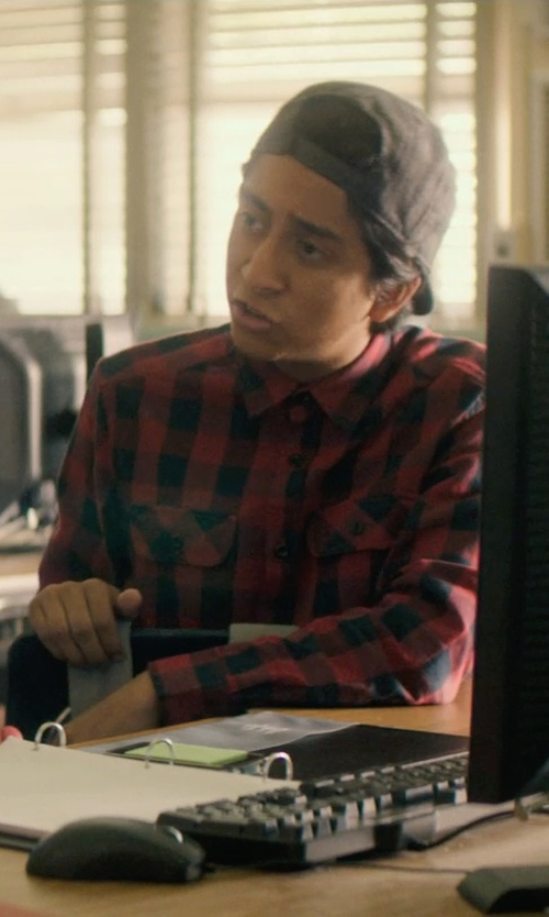 Tony Revolori with Woolrich Wool-Blend Buffalo-Plaid Shirt in Dope
