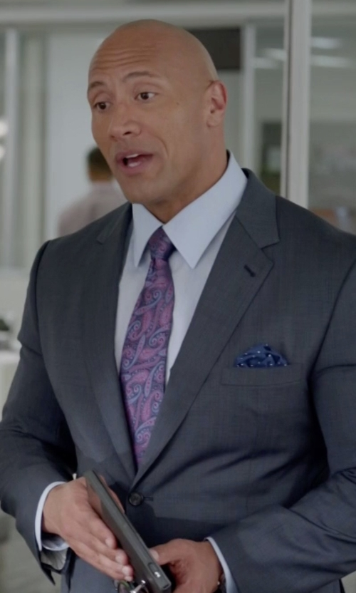Dwayne Johnson with Armani Collezioni G-Line New Basic Sharkskin Two-Piece Wool Suit in Ballers