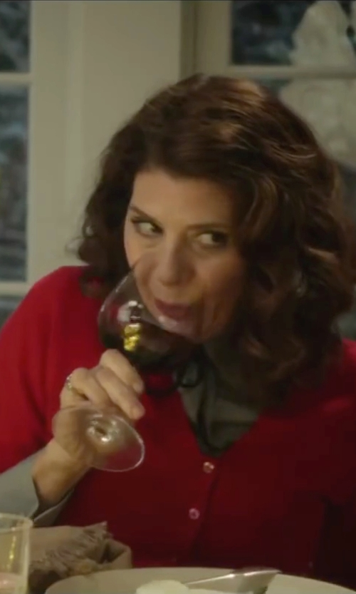 Marisa Tomei with Ann Taylor Petite Pocket Cardigan Sweater in Love the Coopers