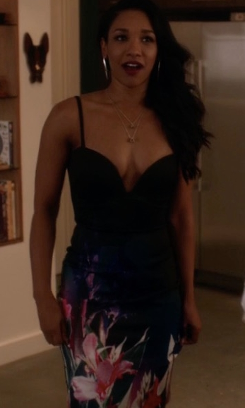 Candice Patton with Bebe Print Deep V Midi Dress in The Flash