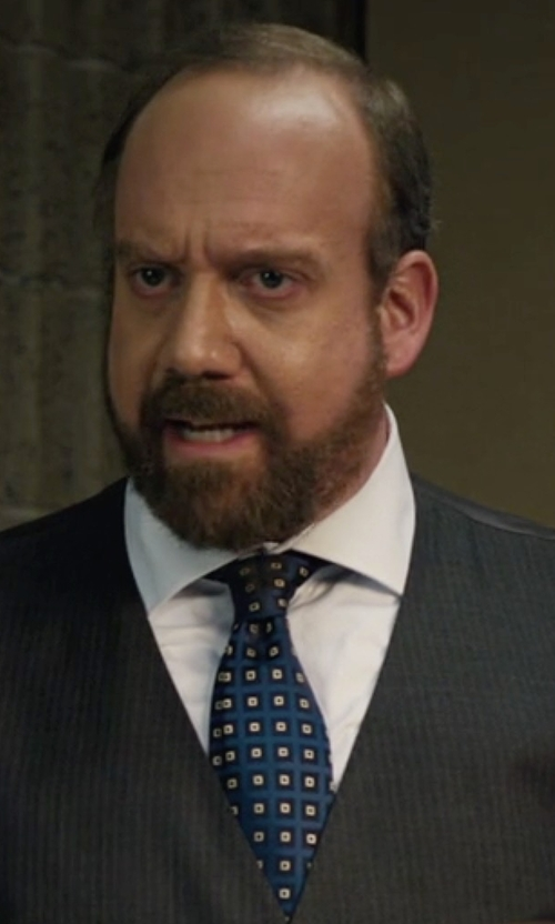 Paul Giamatti with Kiton Square Pattern Necktie in Billions