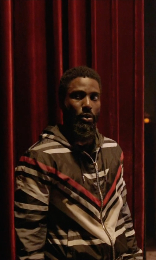 John David Washington with Givenchy Striped Hooded Jacket in Ballers