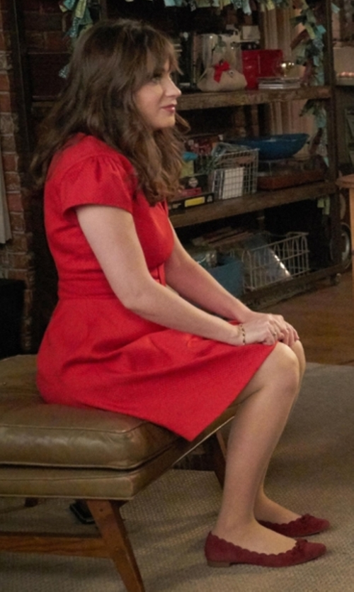 Zooey Deschanel with Lafayette 148 New York Seamed Fit-&-Flare Dress in New Girl