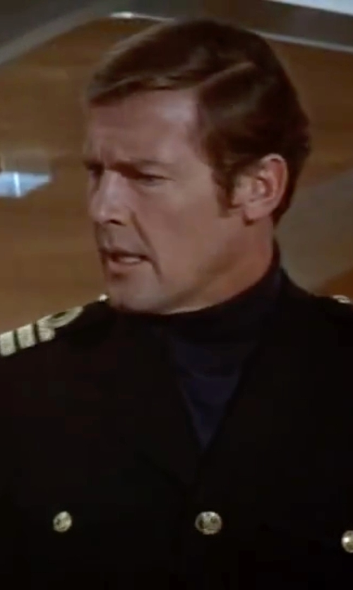 Roger Moore with Daniele Alessandrini Turtleneck T-Shirt in The Spy Who Loved Me