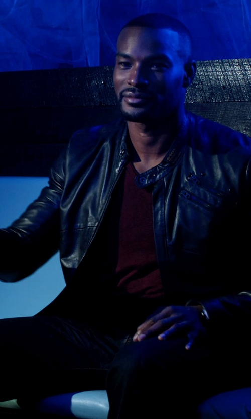 Tyson Beckford with Levi's Made & Crafted Leather Biker Jacket in Addicted
