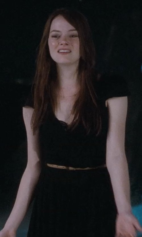 Emma Stone with Alexander Mcqueen Sheath Dress With Standing Collar in Crazy, Stupid, Love.