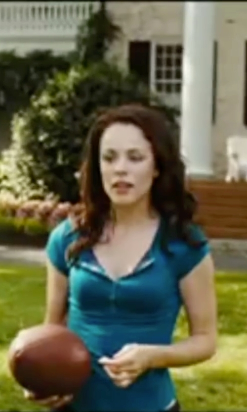 Rachel McAdams with The Color Story Women's Ribbed Scoop-Neck Short Sleeve Henley Shirt in Wedding Crashers
