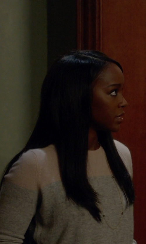 Aja Naomi King with Vince Cashmere Colorblock Sweater in How To Get Away With Murder