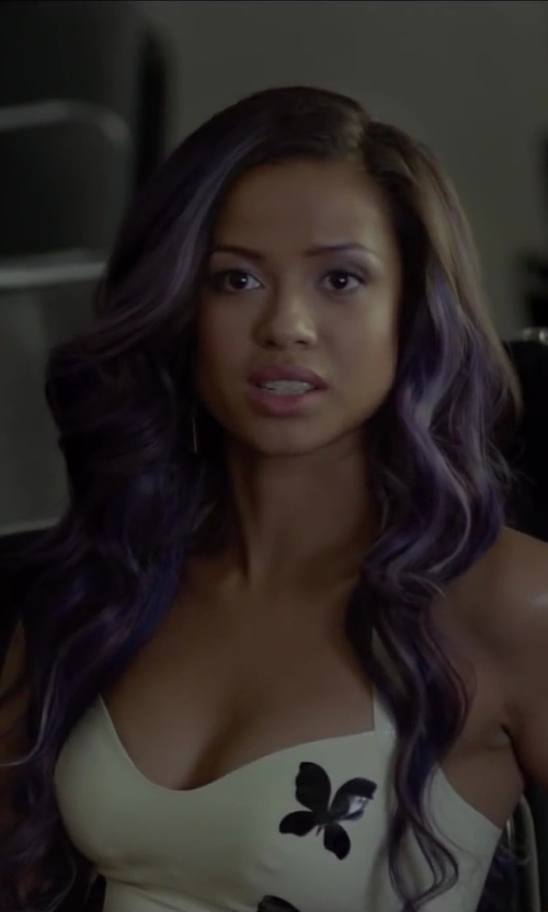 Gugu Mbatha-Raw with Rebecca Minkoff Cielo Mini Dress in Beyond the Lights